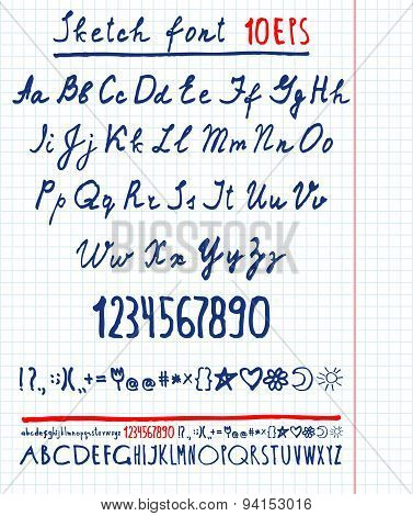 handwritten English alphabet. Vector illustration .
