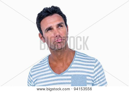 Thoughtful man looking away on white background
