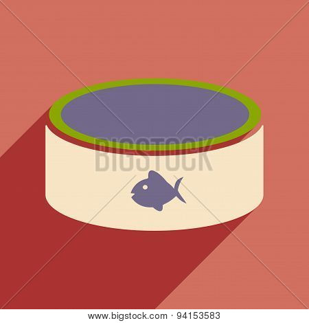 Flat with shadow icon and mobile application cat bowl