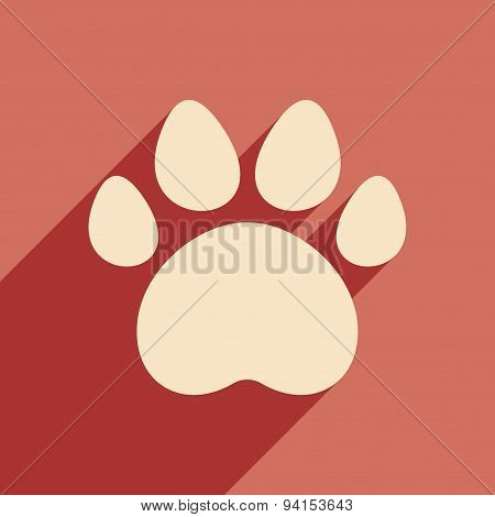 Flat with shadow icon and mobile application traces of animals