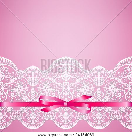 lace on pink background