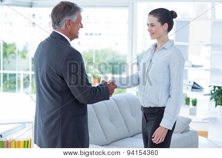 Businesswoman shaking hands with a businessman in an office