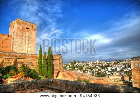 The view of the Alhambra fortress in HDR, Granada, Spain