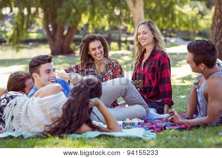 Happy friends in the park having picnic and playing guitar on a sunny day