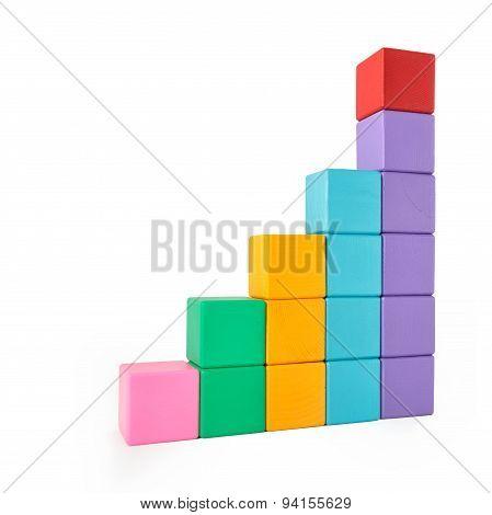 Wooden toy blocks on white background