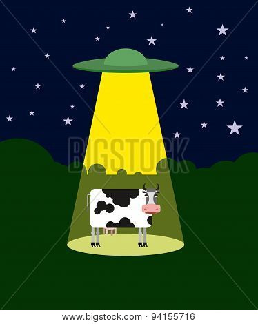 UFO abducts a cow. Space aliens and cattle. Flying saucer beam picks up animal from farm. Vector ill