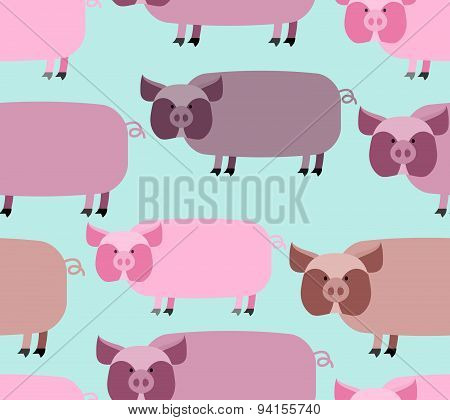 Pig seamless pattern. Background of animals. A herd of pigs Farm animal. Vector illustration