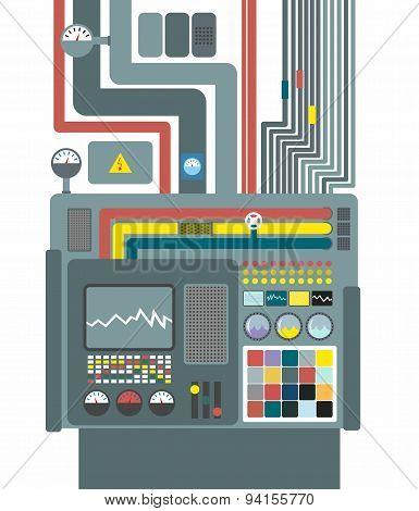 Production system. Control Panel with buttons and sensors. Buttons and screens. Wires and valves. Su