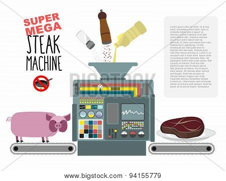 Super mega steak machine. Manufacturing system for release of meat. No need to fry in a pan. Fill wi