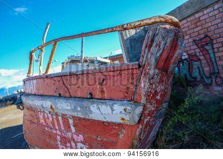 Abandoned Boat on Dry Land
