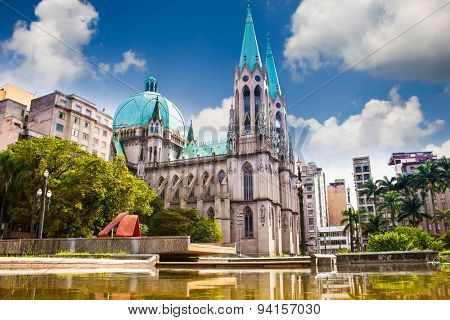 Amazing view of Se Cathedral in Sao Paulo, Brazil.