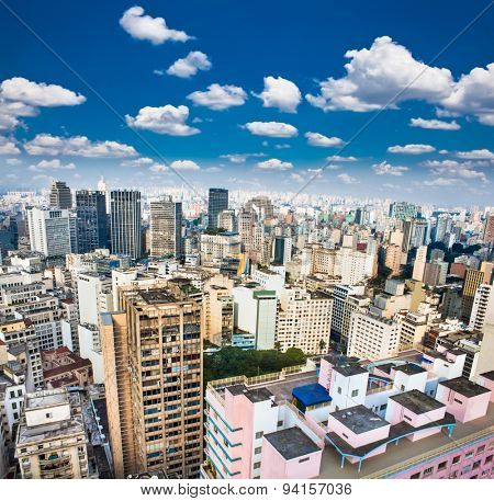 View of San Paolo skyline on suny day, Brazil.