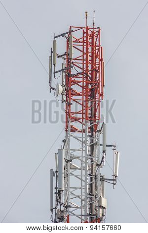 Close Up White Color Antenna Repeater Tower On Blue Sky