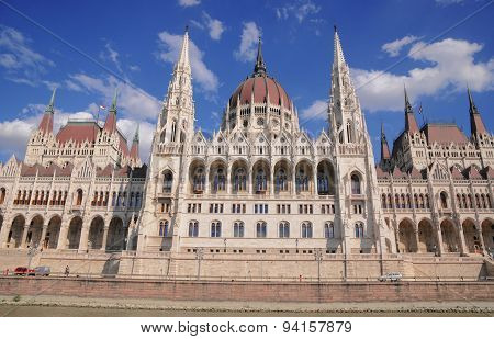 The front of the Hungarian parliament seen across the Danube in Budapest