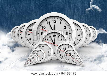 Clocks against night sky