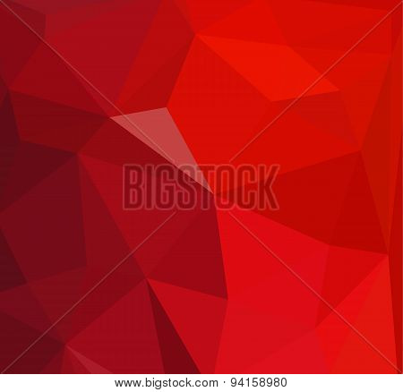 Red Crystal Triangles Vector Abstract Background