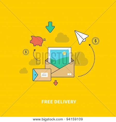 Concept of Free Delivery as Saving Money