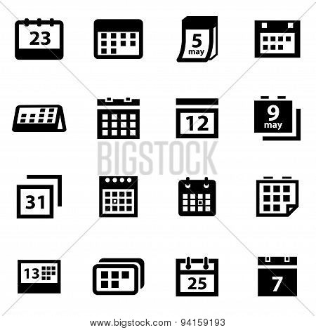 Vector Black Calendar Icon Set