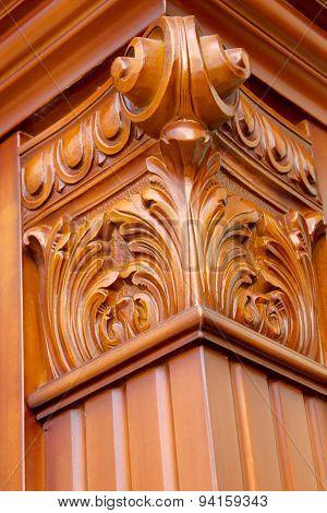 Carved wooden column