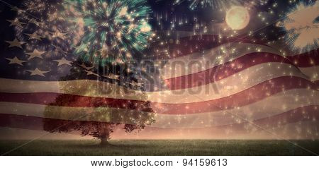 Digitally generated american flag rippling against colourful fireworks exploding on black background