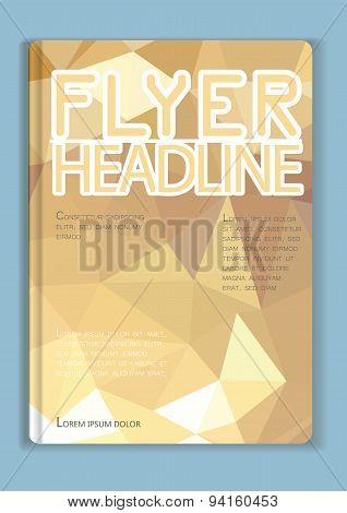 Flyer Abstract  Low Poly Gold Design