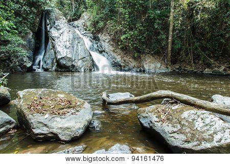 Mae-haad Waterfall in Huai Nam Dang National Park At Wiang-haeng,chiangmai, Thailand