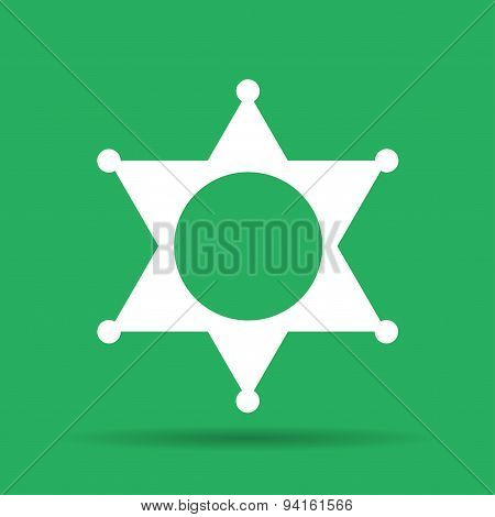 Sheriff Star. Flat Web Icon Or Sign Isolated On Grey Background. Collection Modern Trend Concept Des