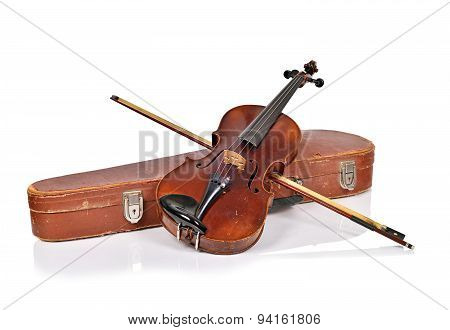 Old Violin, Case With Bow