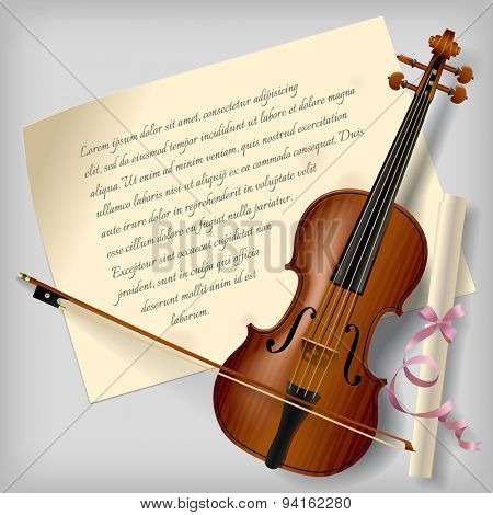 Violin with a paper sheet on a gray background. Vintage artistic blank. Vector Illustration