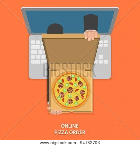 Online pizza order vector illustration.