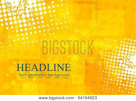 Bright orange grunge tech background. Vector design