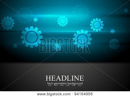Contrast blue and black tech background with gears. Vector design