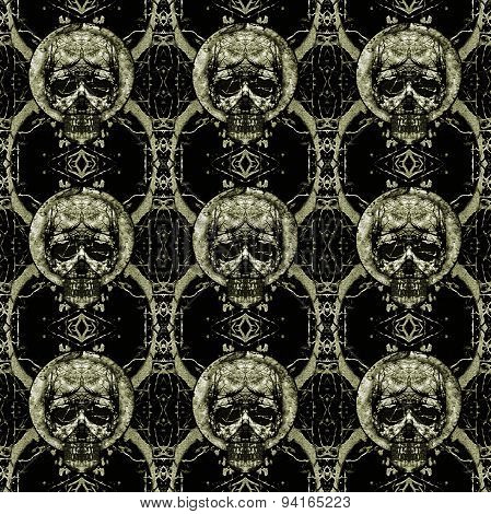 Skulls Motif Dark Seamless Pattern