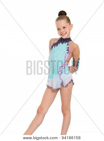 Young girl gymnast, close-up