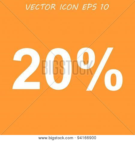 20% Tag Icon, Vector Illustration. Flat Design Style