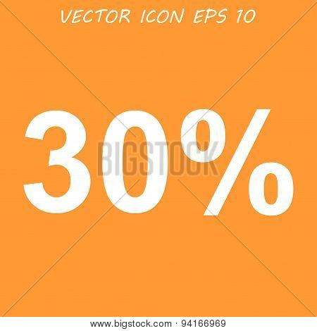 30% Tag Icon,  Flat Design Style