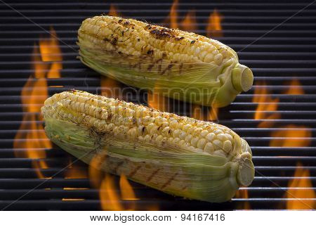 Seasoned Corn on the Cob on a Hot Flaming Barbecue Grill