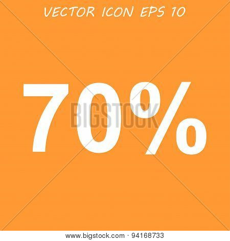 70% Tag Icon,  Flat Design Style