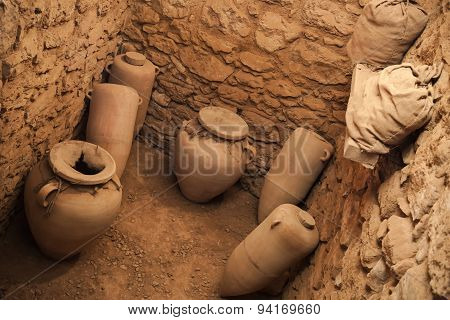 Old Crocks Stands In Stone Cellar