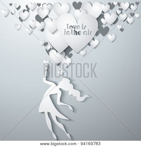 Vector isolated typography design element for greeting cards and invitations. Hand drawn inspirational and encouraging quote. Girl with hearts.