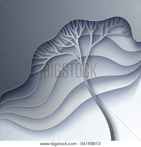 Vector illustration with stylized tree in gradation of gray
