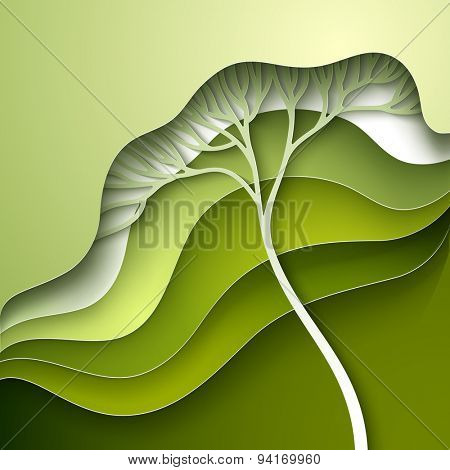Vector illustration with stylized tree in gradation of green