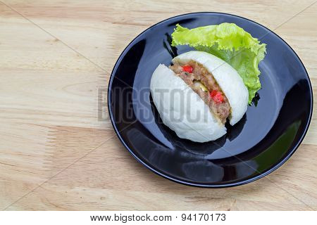 Chinese Steamed Bun With Crab Stick, Quail Egg And Pork Stuff