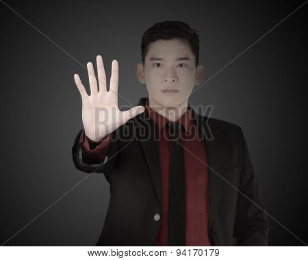 Business Man Say No To Enter
