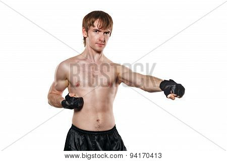 Fighter In Mixed Martial Fighting Gloves Kick