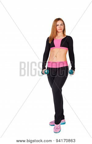 Sportswoman Posing With Dumbbells.