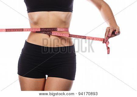 Slim Girl Measuring Waist.