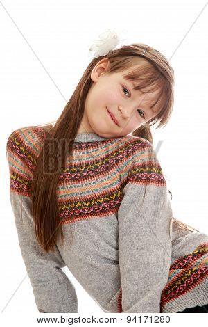 Portrait of beautiful girl schoolgirl , close-up