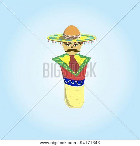 Mexican Sombrero With A Mustache In A Plug For Tequila
