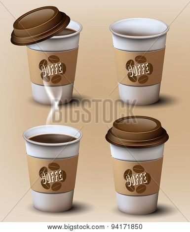 Set of  paper cups.Different position.Vector design.
